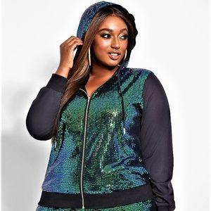 2X ASHLEY STEWART Mesh Sequin Active Zip UP hoodie